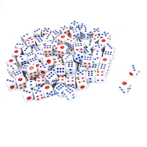 Plastic Game Dices White Blue Red 100 Pcs