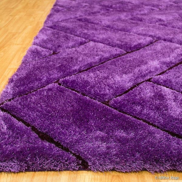 Allstar Rugs Purple Shaggy Area Rug With 3d Design With Black Lines Contemporary Formal Casual Hand Tufted 5 X 7 Overstock 11468999