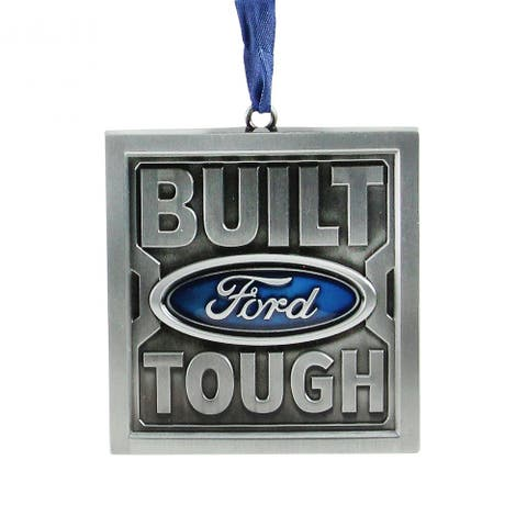 """3"""" Brushed Nickel Plated Built Ford Tough Christmas Ornament"""