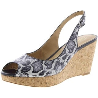 Trotters Womens Allie Cork Peep-Toe Wedge Sandals