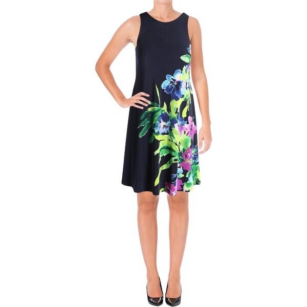 c50c24a99c Lauren Ralph Lauren Womens Special Occasion Dress Floral-Print Sleeveless  Navy 0