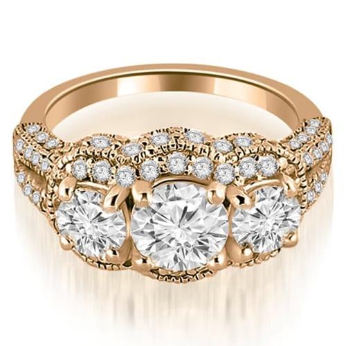 2.00 cttw. 14K Rose Gold Milgrain 3-Stone Round Cut Diamond Engagement Ring
