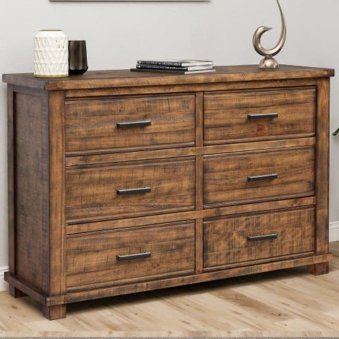 Rustic Reclaimed Solid Wood Framhouse 6 Drawers Wider Dresser
