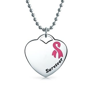 Bling Jewelry Pink Enamel Cancer Survivor Heart ID Dog Tag Necklace Steel
