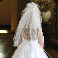 Angels Garment Girls White Satin Cording Double Layer Communion Flower Girl Veil