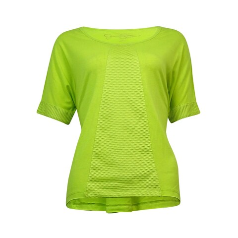 Jessica Simpson Juniors Short-Sleeve Mesh-Inset Top - electric lime - S