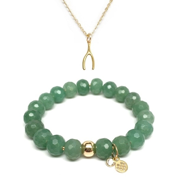 "Green Aventurine 7"" Bracelet & Wishbone Gold Charm Necklace Set"