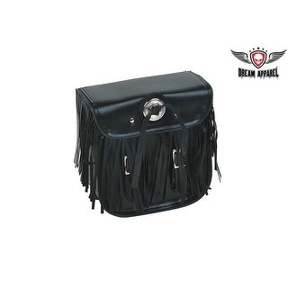 Leather Motorcycle Sissy Bar Bag With Fringes Concho