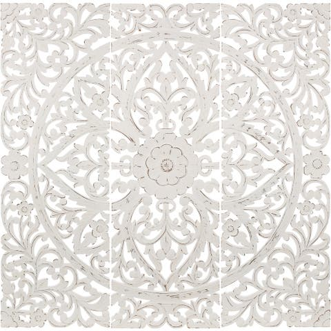 Luzie Floral Hand Carved Antique White Wooden 48x48-inch 3-Panel Wall Art