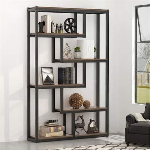 5-Shelf Industrial Bookshelf Display Shelves