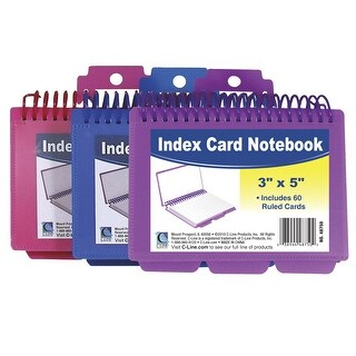 C-Line Spiral Bound Index Cards with Tabs, 3 x 5 Inches, Colors Vary