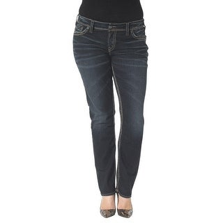 Silver Jeans Denim Womens Suki Straight Plus Dark Wash