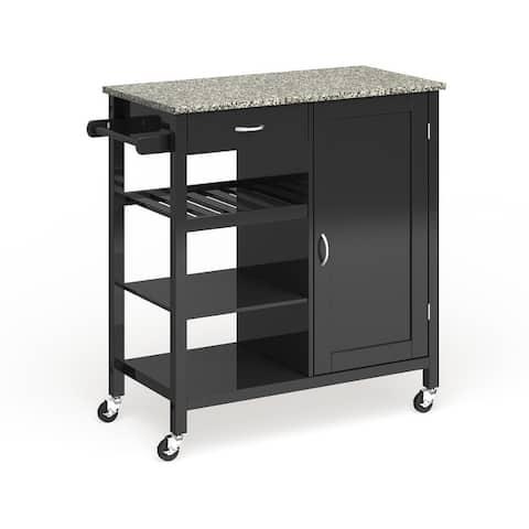 Porch & Den Ringsby Wooden 3-shelf Kitchen Cart