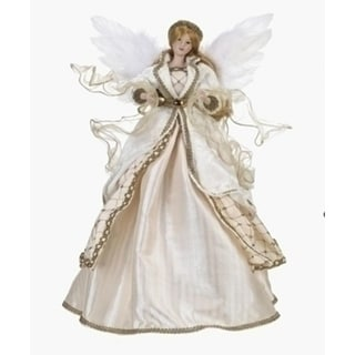 "18"" Elegant Cream, White and Gold Angel Christmas Tree Topper - Unlit"