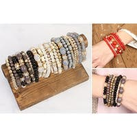 RIAH FASHION Multi Beaded Stackable Statement Bracelet