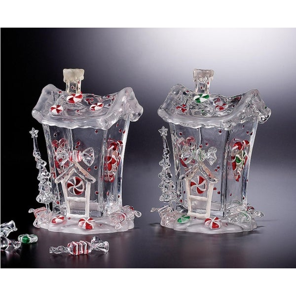 "Pack of 4 Icy Crystal Decorative Christmas Candy House Jars 7.3"" - CLEAR"