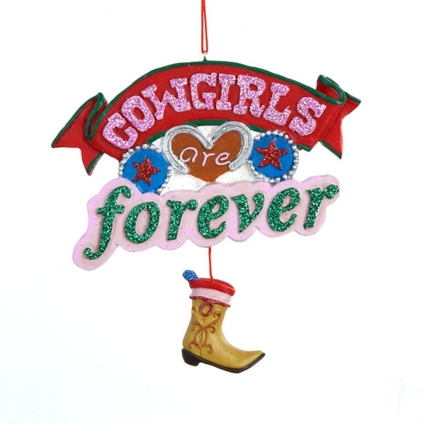 """4.5"""" Wild West """"Cowgirls are Forever"""" with Boot Pendant Christmas Plaque Ornament - PInk"""