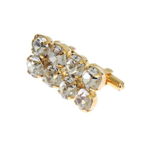 Dolce & Gabbana Gold Brass Clear Crystal Cufflinks