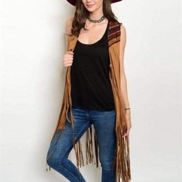 Boho Western Vintage Hippy Faux Suede Leather Fringe Camel Vest Cardigan S M L
