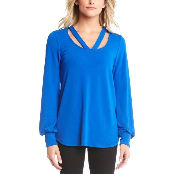Karen Kane Womens Pullover Sweater Cut-Out Long Sleeve