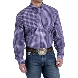 Cinch Western Shirt Mens Long Sleeve Match Dad Logo Purple