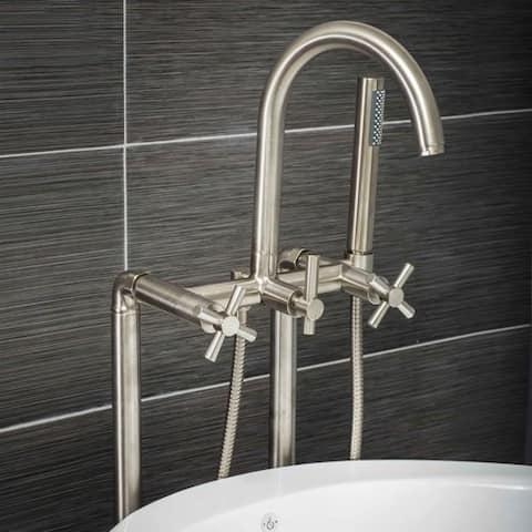 Pelham & White Luxury Tub Filler Faucet, Modern Design, Floor Mount Installation, Cross Handles, Brushed Nickel Finish