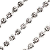Czech Crystal Silver Plated Rhinestone Cup Chain 24PP Crystal (By The Foot)