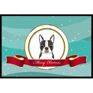 Carolines Treasures BB1513MAT Boston Terrier Merry Christmas Indoor & Outdoor Mat 18 x 27 in.
