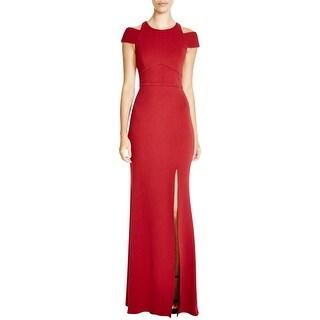 ABS by Allen Schwartz Womens Evening Dress Crepe Cold Shoulder