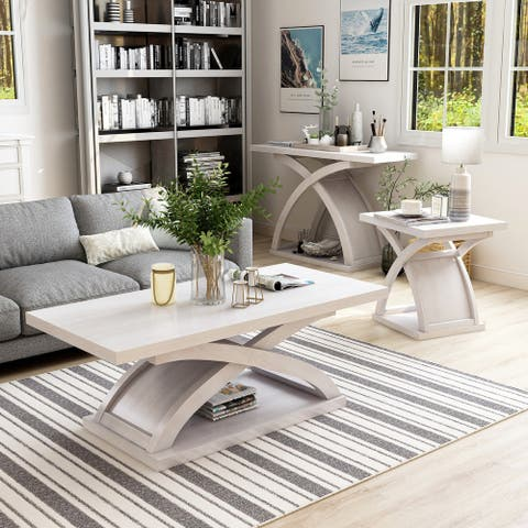 Furniture of America Hali Contemporary White 3-piece Coffee Table Set