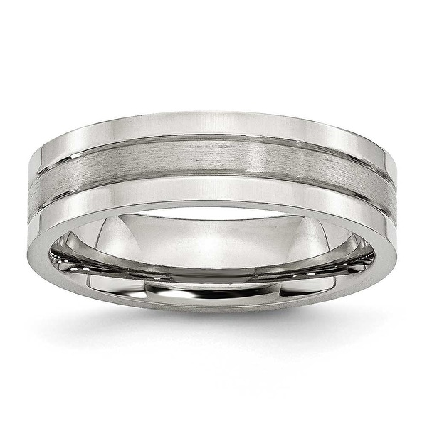 Chisel Grooved Brushed and Polished Stainless Steel Ring (6.0 mm) - Sizes 6-13