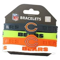 Chicago Bears NFL Silicone Rubber Wrist Band Bracelet Set of 4