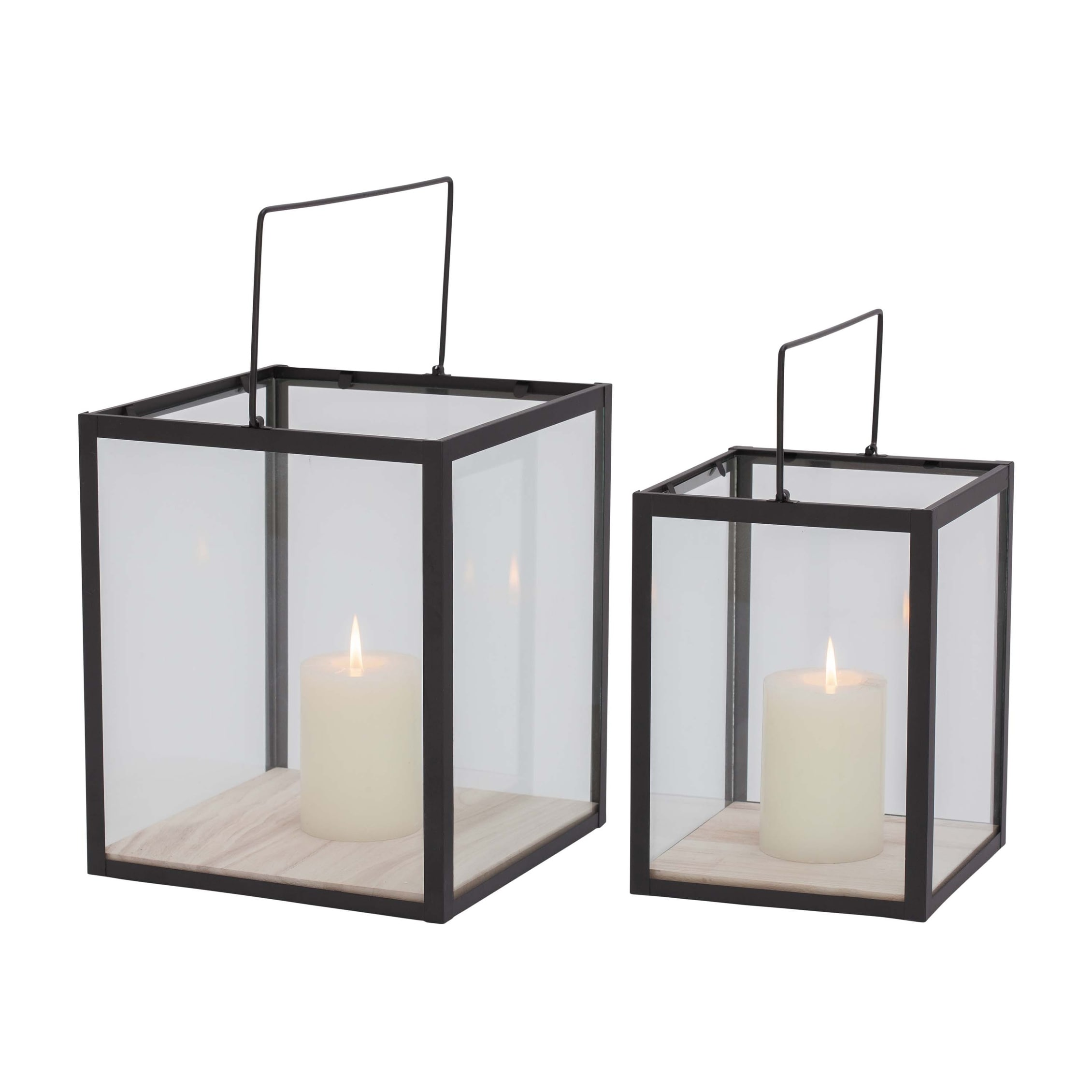 2 Piece Square Metal Frame Glass Candle Lantern Set Black Overstock 16941278