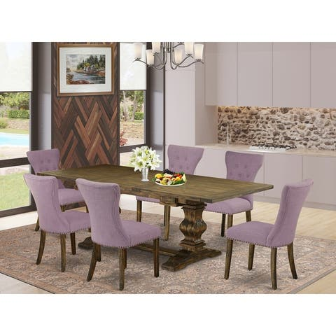 7 Pc Kitchen Dining Set with Rectangle Table and 6 Parson Chairs