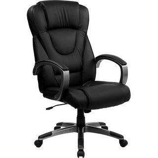 Silkeborg Modern High-Back Black Leather Executive Swivel Chair w/Arms