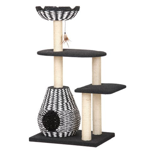 PetPals Ace Black and White Contemporary Cat Bed Tower