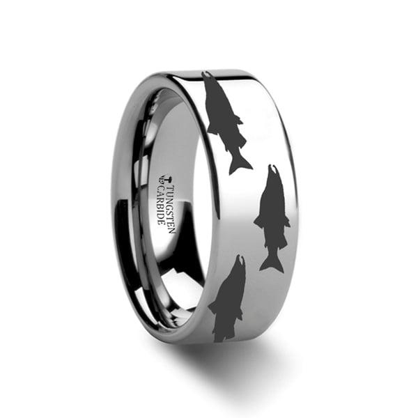 THORSTEN - Salmon Fish Sea Print Pattern Ring Engraved Flat Tungsten Ring - 4mm