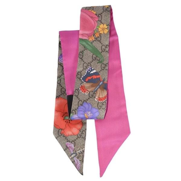 Gucci Women  x27 s Flora GG Guccissima Silk Skinny Neck Bow Tie Bandeau  Scarf 93e8664cc