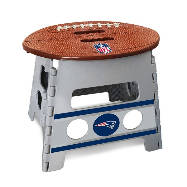 """14"""" Gray and Brown NFL New England Patriots Folding Step Stool"""