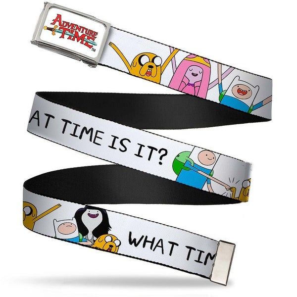 Adventure Time Logo Fcg White Chrome Jake Princess Bubblegum Finn What Web Belt