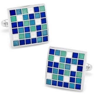 Blue Mosaic Checker Board Cufflinks