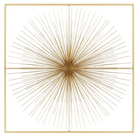 """Gold Square Metal Wall Decor With Starburst Center 36"""" x 36"""""""