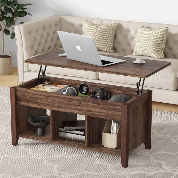 Tribesigns Wooden Lift Top Coffee table with Hidden Storage Shelf for living room. Opens flyout.