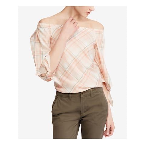 RALPH LAUREN Womens Orange Plaid 3/4 Sleeve Off Shoulder Top Size L