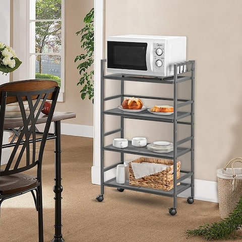 4-Layer/3-Layer Mesh Iron Shelving Unit Storage Rack with Casters Grey