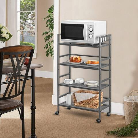 Rustic Industrial 4-Shelf Shelving Mesh Iron Storage Rack with Casters
