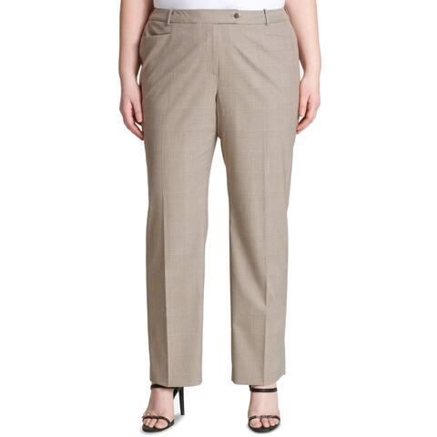 Calvin Klein Womens Pants Brown Size 14W Plus Dress Check Modern Fit