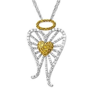 3 ct Yellow & White Diamond Miracle of Love Pendant in 14K White & Yellow Gold