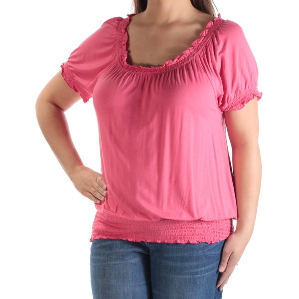 74300610b5 Shop Womens Coral Short Sleeve Scoop Neck Top Size XL - Free Shipping On  Orders Over  45 - Overstock - 21242187