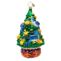 Christopher Radko Glass On the Fourth Day of Christmas Holiday Ornament #1017391 - green